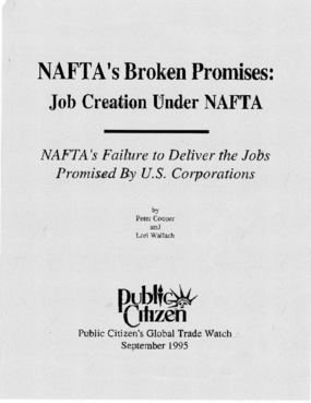 NAFTA's Broken Promises: Failure to Create U.S. Jobs