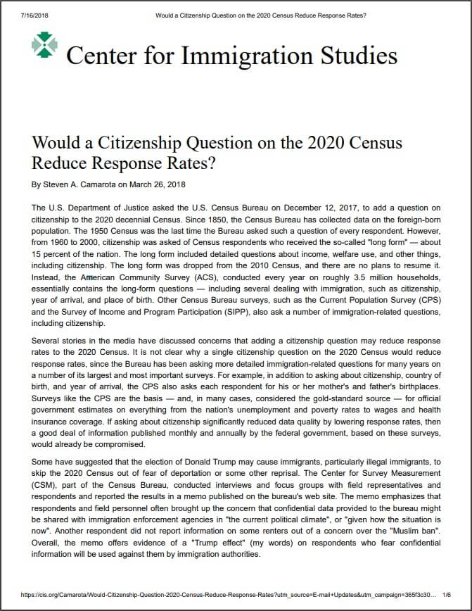 Would a Citizenship Question on the 2020 Census Reduce Response Rates?
