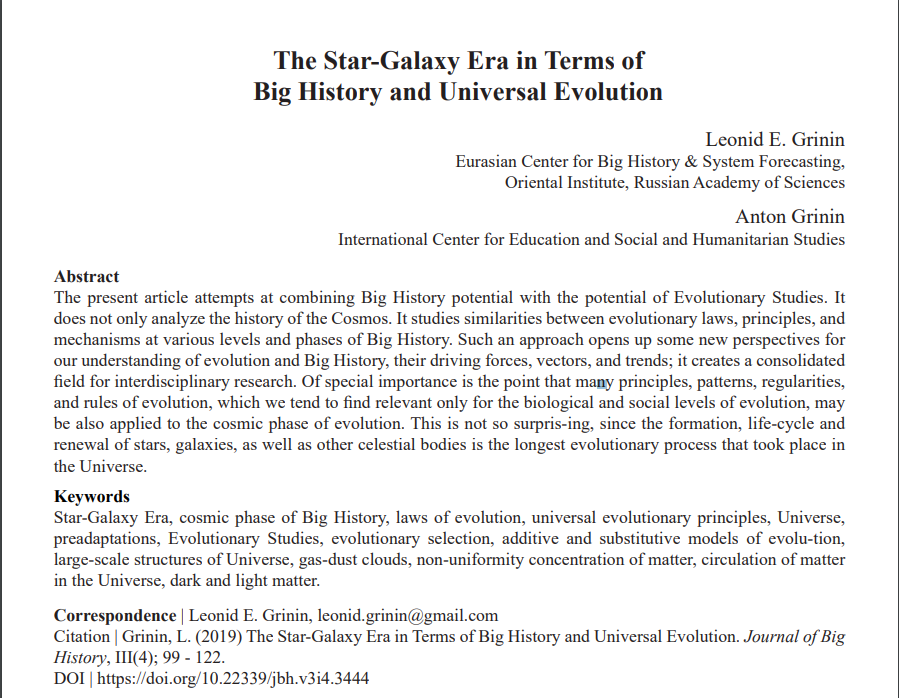 The Star-Galaxy Era in Terms of Big History and Universal Evolution