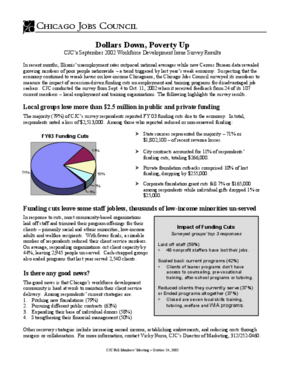 Dollars Down, Poverty Up: CJC's September 2002 Workforce Development Issues Survey