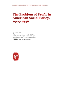 The Problem of Profit in American Social Policy, 1909-1946